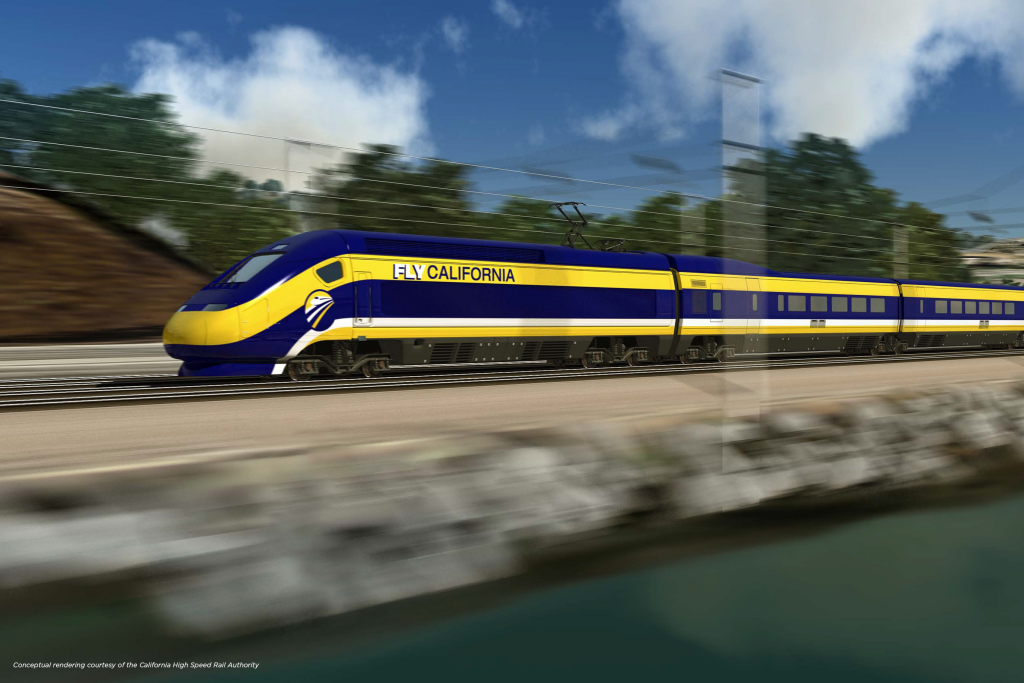 conceptual rendering of California High Speed Rail System - Technology that Railway Engineering students can learn more about