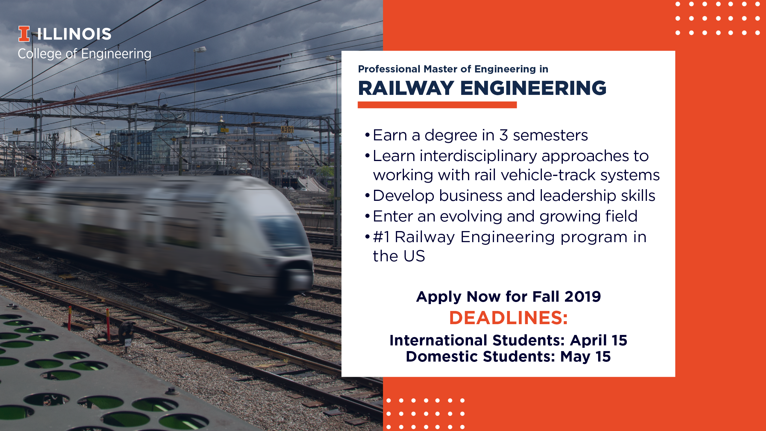 Graphic of moving train, text about program and call to apply now for a Master of Engineering in Railway Engineering